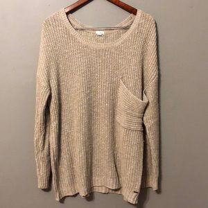 Garage Oversized Tan Long Sleeve Sweater